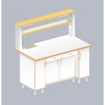 Стол пристенный химический с закрытой тумбой ЛАБ-1500 ПЛТМ